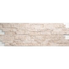 "Travertine Split Face Wall Cladding 24"" x 6"" Tile in Light Ivory"