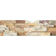 "Nebula Travertine Cubic Honed Wall Cladding 20"" x 7"" Tile in Mix Rustic"