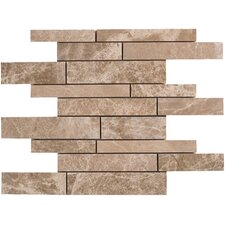 Emperador Random Sized Light Marble Mosaic Strip Polished Tile in Beige and Brown