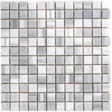 "Equator 1"" x 1"" Marble Polished Mosaic in White and Gray"