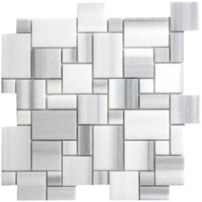 "Equator Marble Mosaic Mini Pattern Polished 13"" x 13"" Tile in White and Gray"