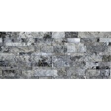 "<strong>Faber</strong> Travertine Split Face Wall Cladding 20"" x 7"" Tile in Silver and Gray"