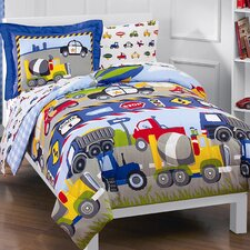 Trains and Trucks 5 Piece Twin Bed Set