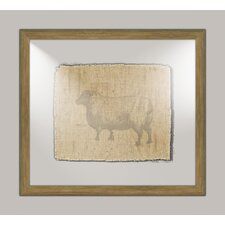 Sheep on Linen II Framed Art in Taupe