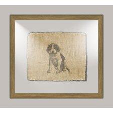 Dog on Linen II Framed Art in Black
