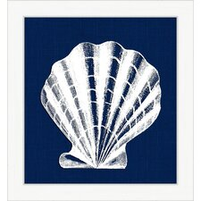 White Shell IV Framed Art in Blue