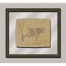 Cow on Linen I Framed Art in Taupe