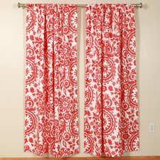 Suzani Coral White Rod Pocket Curtain Single Panel