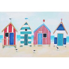 Beach Huts And Seagulls by Claire Henley Wall Art