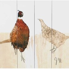 Hen and Cock Pheasant by Julia Burns Printed Wooden Planks Wall Art