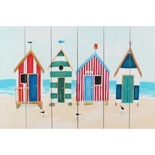 Beach Huts and Seagulls by Claire Henley Printed Wooden Planks Wall Art