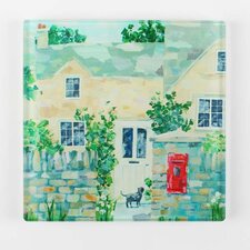 <strong>Artistic Britain</strong> Village Post Office Printed Glass Chopping Board by Claire Henley