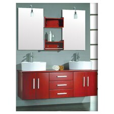 "Moonstone 59"" Wall Mount Double Bathroom Vanity Set"