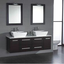 "Poplar 62"" Wall Mount Double Bathroom Vanity Set"