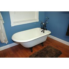 """55"""" x 23.25"""" Rolled Rim Claw Foot Bathtub"""
