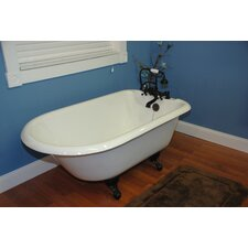 "60.5"" x 23.25"" Rolled Rim Soaking Claw Foot Bathtub"