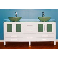 "<strong>Cambridge Plumbing</strong> White Emerald 71"" Double Sink Vanity Set"