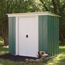 Metal Pent Shed in Green and White