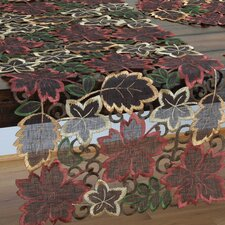 <strong>Xia Home Fashions</strong> Dainty Leaf Embroidered Cutwork Harvest Table Runner