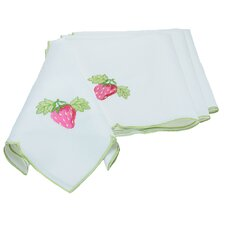 Strawberry Patch Embroidered Cutwork Napkin (Set of 4)