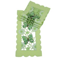 Emerald Mariposa Embroidered Cutwork Traycloth (Set of 4)