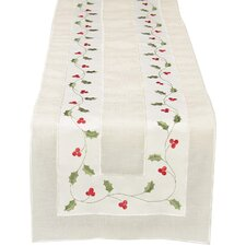 Classic Holly Embroidered Cutwork Holiday Table Runner