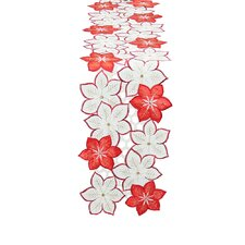 Candy Cane Poinsettia Embroidered Cutwork Holiday Table Runner
