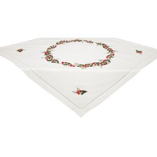 Holly Berry Embroidered Hemstitch Holiday Table Topper