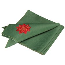 Holly Leaf Poinsettia Embroidered Cutwork Holiday Napkin (Set of 4)