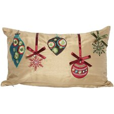 Christmas Ribbon with Ornaments Pillow