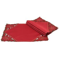 Holly Leaf Poinsettia Placemat and Napkin Set