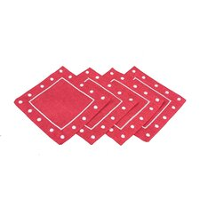 Polka Dot Embroidered Easy Care Coasters (Set of 4)