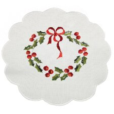 Country Wreath Embroidered Hemstitch Round Holiday Doily (Set of 4)