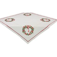 Country Wreath Embroidered Hemstitch Holiday Table Topper
