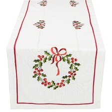 <strong>Xia Home Fashions</strong> Country Wreath Embroidered Hemstitch Holiday Table Runner