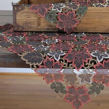 <strong>Xia Home Fashions</strong> Dainty Leaf Embroidered Cutwork Harvest Table Topper