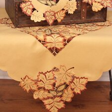 <strong>Xia Home Fashions</strong> Bountiful Leaf Embroidered Cutwork Table Topper
