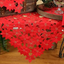 Festive Poinsettia Embroidered Cutwork Holiday Table Topper