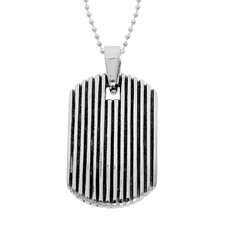 Stainless Steel Striped Dog Tag Pendant
