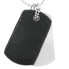<strong>GoldnRox</strong> Stainless Steel and Leather Dog Tag Pendant