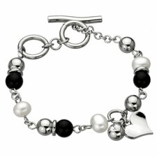 <strong>GoldnRox</strong> Cultured Pearls Heart Bracelet Bracelet