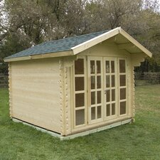 "Brighton 9'9"" W x 9'9"" D Solid Wood Garden Shed"