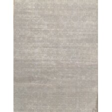 Modern Contemporary Transitional Hand-Knotted Silk and Wool Silver Area Rug