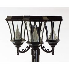 Victorian Solar Light Fixture with Three Nine-LED Lanterns on Three-Inch-Diameter Pole Fitter