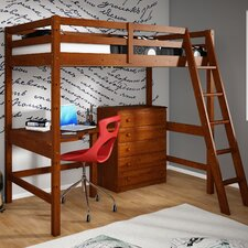 Donco Kids Twin Loft Bed with 5 Drawer Chest