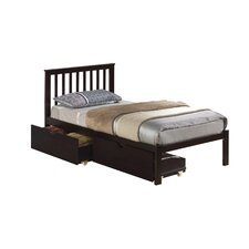 Mission Slat Bed with Dual Underbed Drawers