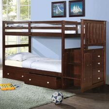 Twin Standard Bunk Bed with Underbed Drawer and Stairway