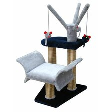 "16"" Lounger with Tree and Bamboo Post Cat Tree in Navy/Gray"