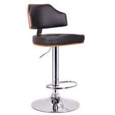 Baxton Studio Cabell Adjustable Swivel Bar Stool with Cushion