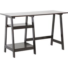 Baxton Studio Large Mott Wood Modern Writing Desk with Sawhorse Legs